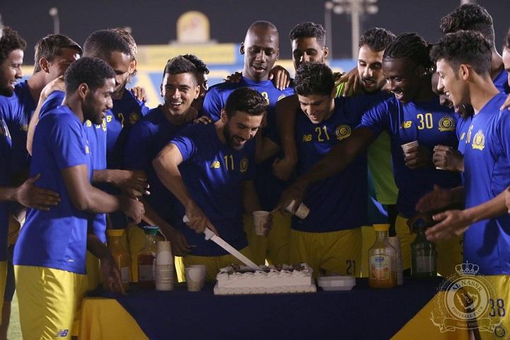 إحتفالية نصراوية بالثنائي المغربي التأهل