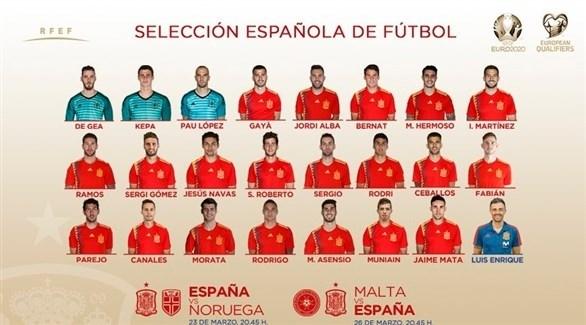 إنريكي يعلن تشكيلة إسبانيا لمواجهتي النرويج ومالطا