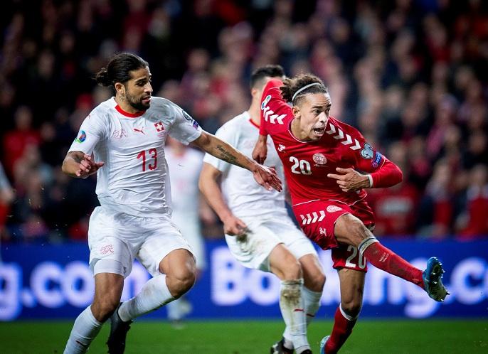 الدنمارك تنتزع فوزاً صعباً من سويسرا في تصفيات يورو 2020