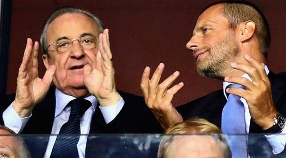 رئيس يويفا يهاجم خطة رئيس ريال مدريد